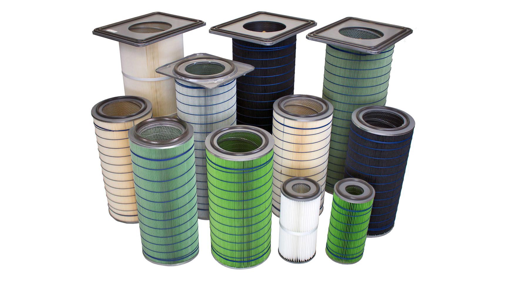 multiple different sizes of dust collector filters